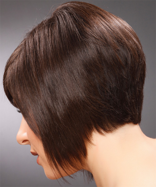 Medium Straight Formal  with Side Swept Bangs - Dark Brunette (Mocha) - side view