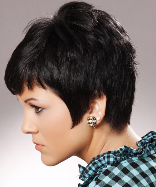 Short Straight Casual Hairstyle - Black (Ash) - side view