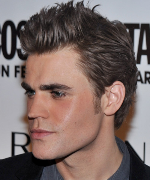 Paul Wesley Short Straight Hairstyle - Medium Brunette (Ash) - side view 1
