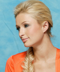 Paris Hilton Updo Long Curly Casual Braided - side view