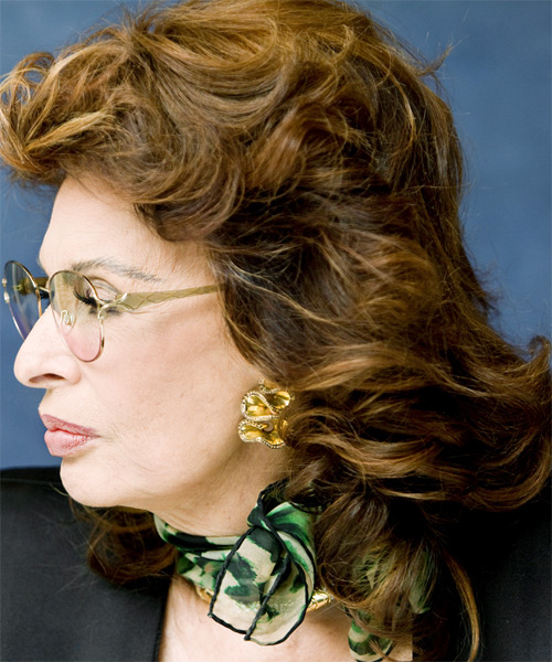 Sophia Loren - Formal Medium Wavy Hairstyle - side view