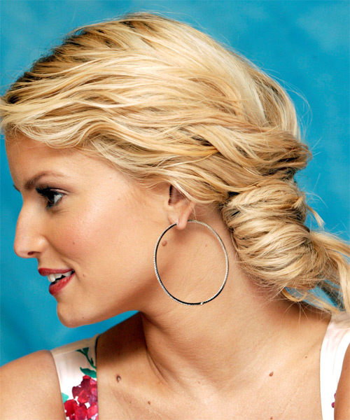 Jessica Simpson Updo Long Curly Formal Wedding- side view