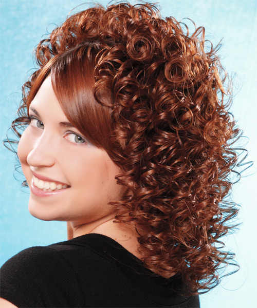 Medium Curly Formal  - Medium Brunette - side view