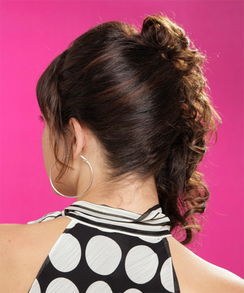 Formal Curly Half Up Hairstyle - Dark Brunette (Mocha) - side view 1