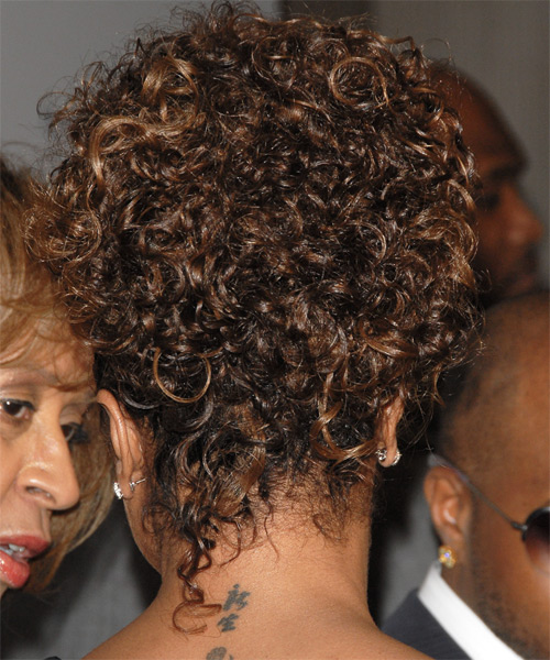 Janet Jackson Curly Casual Updo Hairstyle - side view