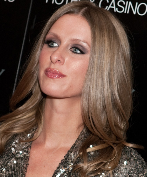 Nicky Hilton Long Straight Hairstyle - Medium Brunette (Chestnut) - side view