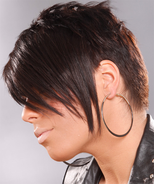 Short Straight Alternative Hairstyle - Medium Brunette (Chocolate) - side view 1