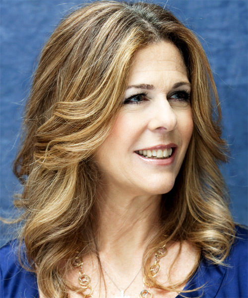 Rita Wilson Long Wavy Hairstyle - side view 1