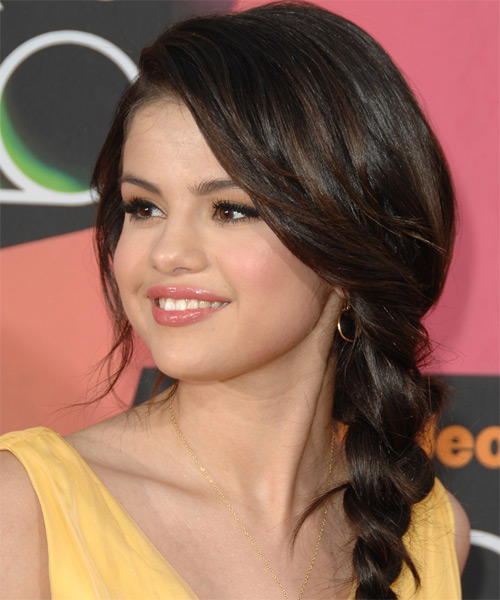 Magnificent Selena Gomez Updo Curly Casual Braided Hairstyle Thehairstyler Com Short Hairstyles Gunalazisus