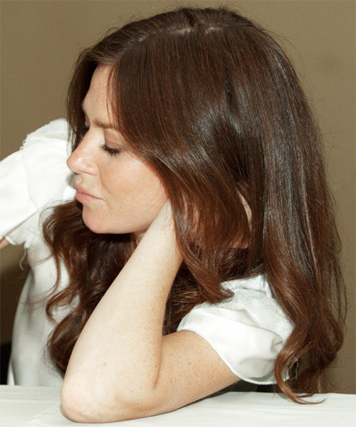 Anna Friel Long Wavy Hairstyle - Medium Brunette (Chocolate) - side view