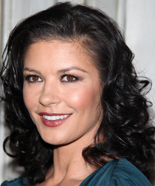 Catherine Zeta Jones Medium Wavy Hairstyle - side view 1