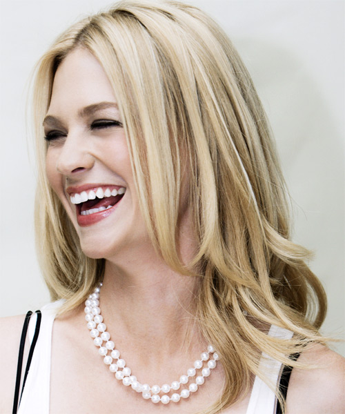 January Jones  Long Straight Hairstyle - side view 1