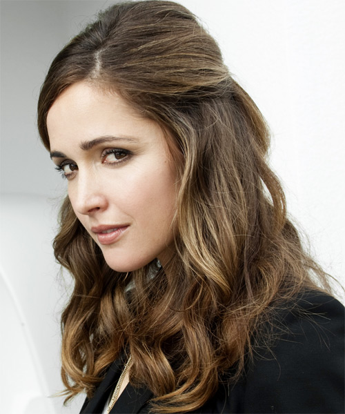 Rose Byrne Half Up Long Curly Hairstyle - side view 1