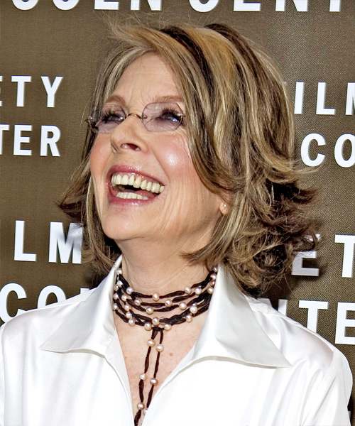 Diane Keaton Medium Straight Hairstyle - side view 1