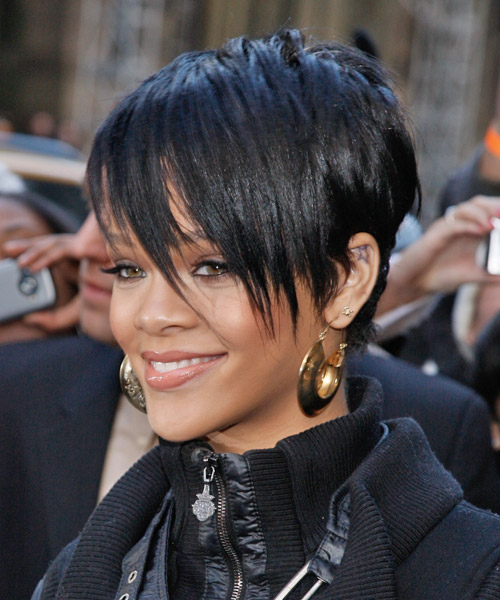 Rihanna Short Straight Alternative Hairstyle with Side Swept Bangs - Black Hair Color - side view