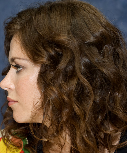 Anna Friel Long Wavy Hairstyle - Medium Brunette - side view 1