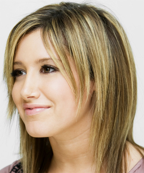 Ashley Tisdale Long Straight Casual  with Side Swept Bangs - Medium Blonde (Ash) - side view