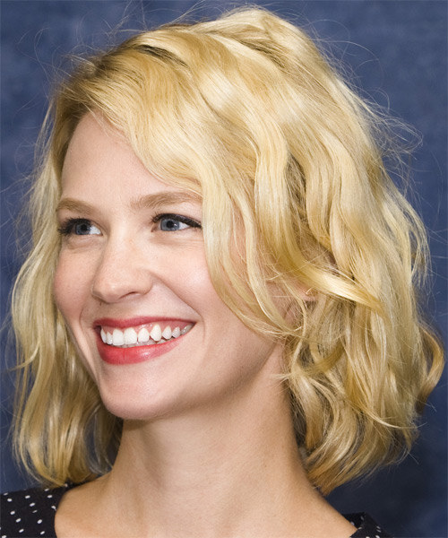 January Jones Medium Wavy Hairstyle - side view 1