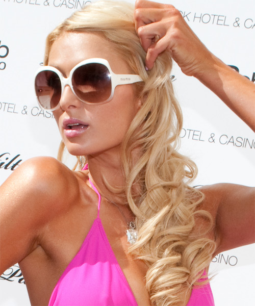 Paris Hilton Long Wavy Formal Hairstyle - Light Blonde (Bright) Hair Color - side view