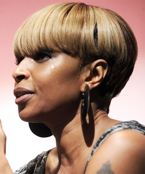 Mary J Blige Short Straight Hairstyle - side view 1