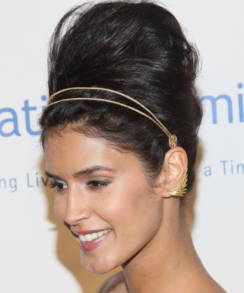 Jaslene Gonzalez Curly Formal Updo Hairstyle - side view