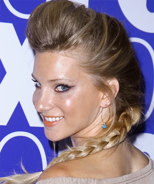 Heather Morris Formal Straight Updo Hairstyle - side view 1