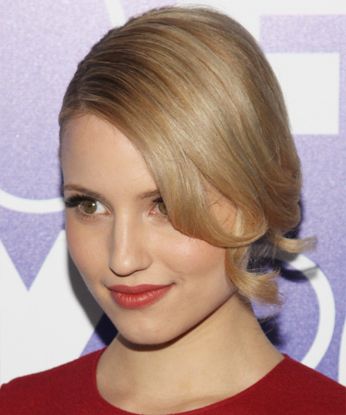 Dianna Agron Updo Long Curly Formal  - side view