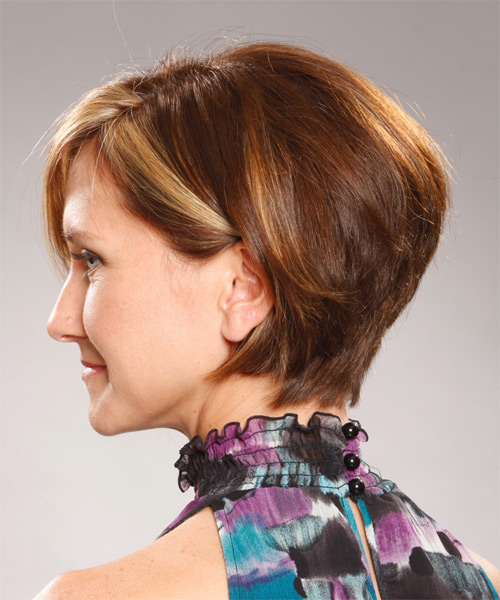 Medium Straight Formal Hairstyle with Side Swept Bangs - Light Brunette Hair Color - side view