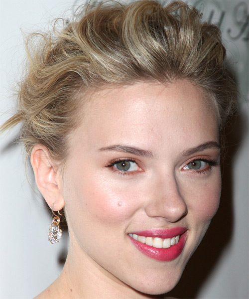 Scarlett Johansson Updo Long Curly Formal  - side view