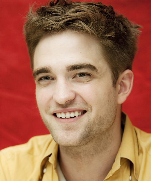 Robert Pattinson Short Straight Hairstyle - Light Brunette (Caramel) - side view 1