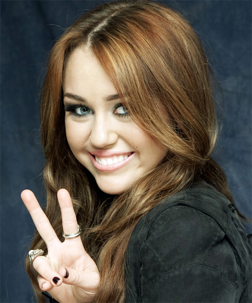 Miley Cyrus - Casual Long Wavy Hairstyle - side view