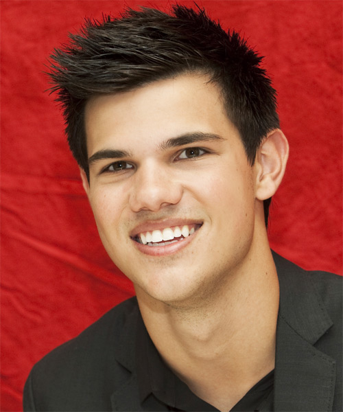 Taylor Lautner Short Straight Hairstyle - Dark Brunette - side view 1
