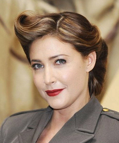 Lisa Snowdon Straight Formal Updo Hairstyle - side view