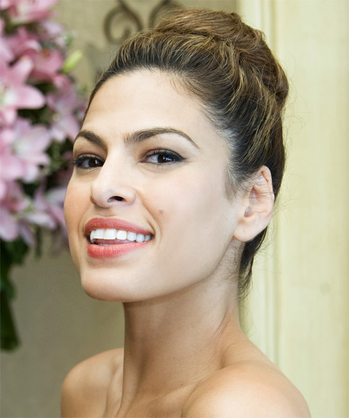 Eva Mendes Curly Casual Updo Hairstyle - side view
