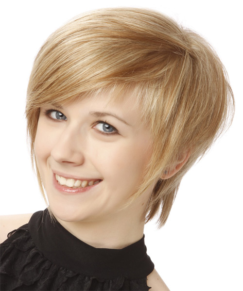 Short Straight Formal  with Side Swept Bangs - Medium Blonde (Champagne) - side view