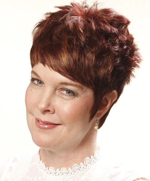 Short Straight Casual Hairstyle - Light Brunette (Auburn) Hair Color - side view