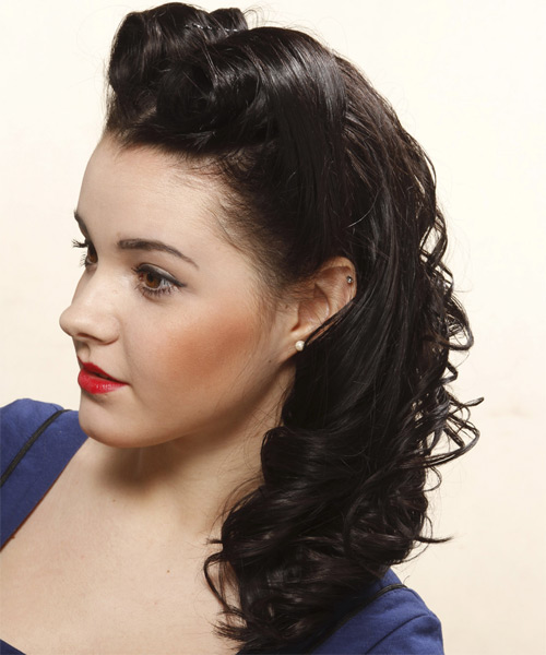 Formal Curly Half Up Hairstyle - Black (Mocha) - side view 1