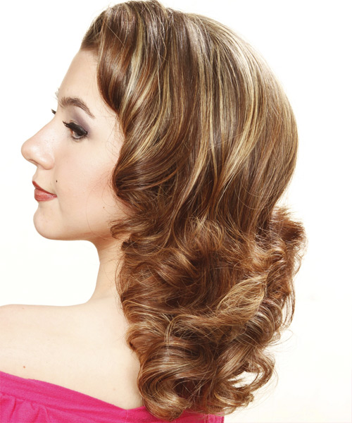 Long Curly Formal Hairstyle (Chestnut) - side view 1