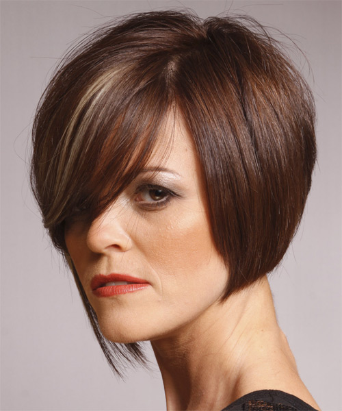 Medium Straight Formal Hairstyle with Side Swept Bangs - Dark Brunette (Mocha) Hair Color - side view