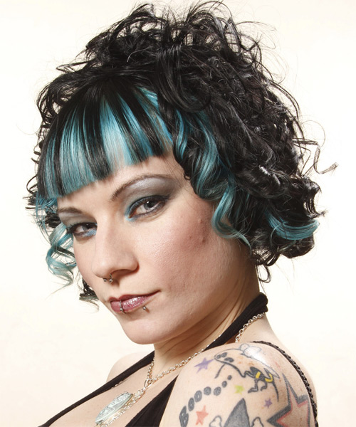 Medium Curly Alternative Hairstyle - Black - side view 1