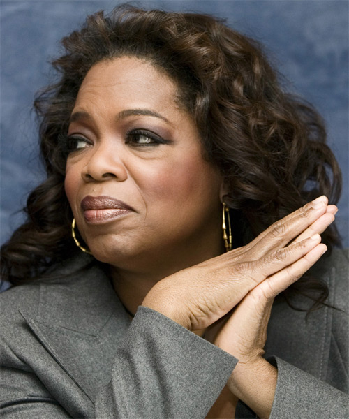 Oprah Winfrey Medium Curly Hairstyle - side view