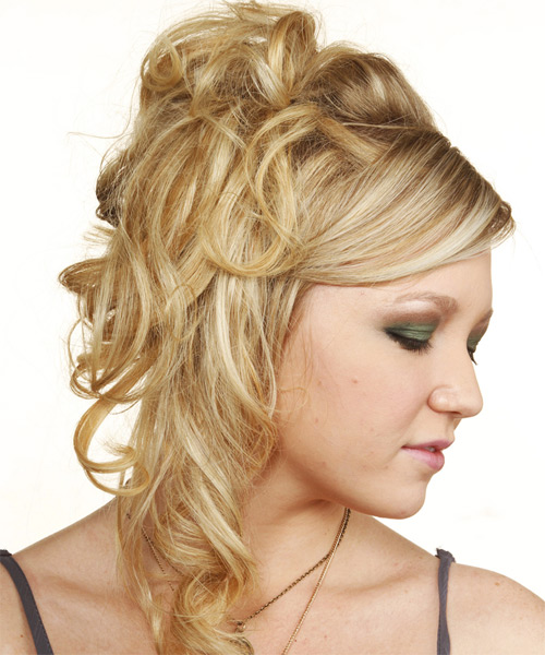 Formal Curly Updo Hairstyle - Light Blonde (Golden) - side view