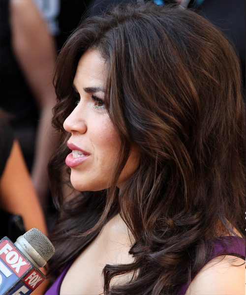 America Ferrera Long Wavy Hairstyle (Mocha) - side view 1