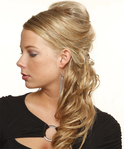 Updo Long Curly Formal  - Medium Blonde (Champagne) - side view