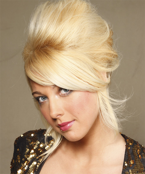 Updo Long Straight Formal Wedding with Side Swept Bangs - Light Blonde (Golden) - side view