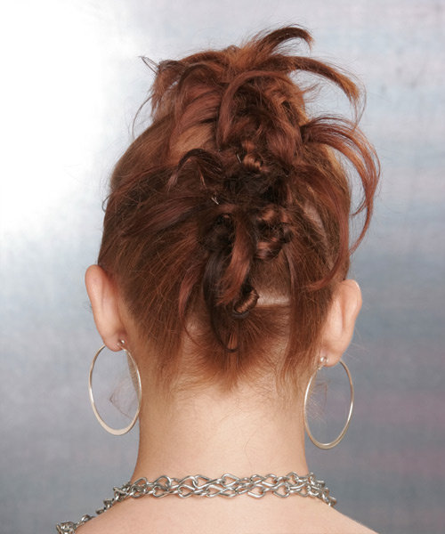 Updo Long Straight Formal - side view