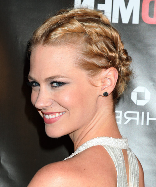 January Jones Formal Curly Updo Hairstyle - side view 1