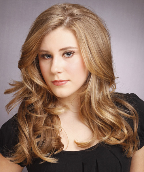 Long Wavy Formal Hairstyle - Dark Blonde (Caramel) Hair Color - side view