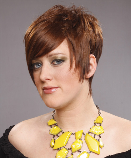 Short Straight Alternative Hairstyle with Side Swept Bangs (Caramel) - side view