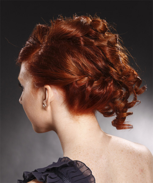 Formal Curly Updo Hairstyle - Medium Red (Burgundy) - side view 1